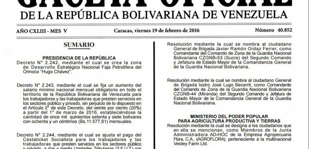 En Gaceta: Oficializado aumento salarial y cestaticket para trabajadores y pensionados