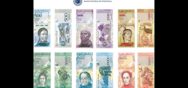 BCV presentó los seis nuevos billetes del cono monetario nacional